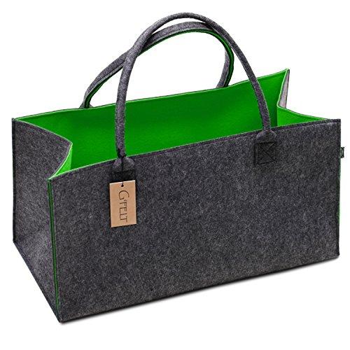 G\'FELT Filztasche Premium – als hochwertige Einkaufstasche, schicke Freizeit-Tasche oder Badetasche, Zeitungskorb, Filzkorb, Einkaufskorb, stabile Kaminholztasche - zweifarbig grau und grün