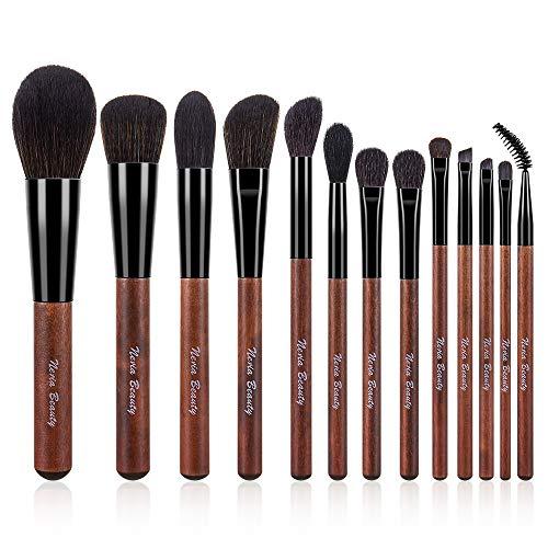 NERIA Wood Color Series Juego de 13 brochas de maquillaje, con brocha en polvo, brocha para mezclar, correctores, cepillo para rubor, sombra de ojos, delineador de ojos