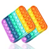HiUnicorn Rainbow Pop Its Bubble Push Sensory Fidget Toy, Autism Special Needs Stress Reliever Anxiety Relief, Silicone Intelligent Board Game Toy f (Rainbow Square, 2-Pack)