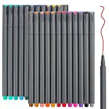 24 Fineliner Color Pens Set, Taotree Fine Line Colored Sketch Writing Drawing Pens for Journal Planner Note Taking and...