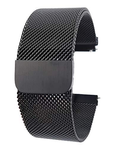 ZooJa Milanaise Armband mit Magnet Verschluss für Uhren aus Edelstahl Uhrenarmband Herren aus Metall Uhrarmband in 22mm