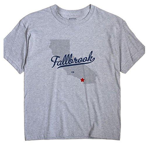 GreatCitees Fallbrook California T-Shirt MAP Large Grey
