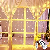 Ollny Curtain Lights Fairy String Twinkle Lights, 200 LED 6.6 Ft with 8 Lighting Modes Remote Dimmable Warm White Light for Bedroom Christmas Wedding Party Home Garden Outdoor Indoor Wall Decorations