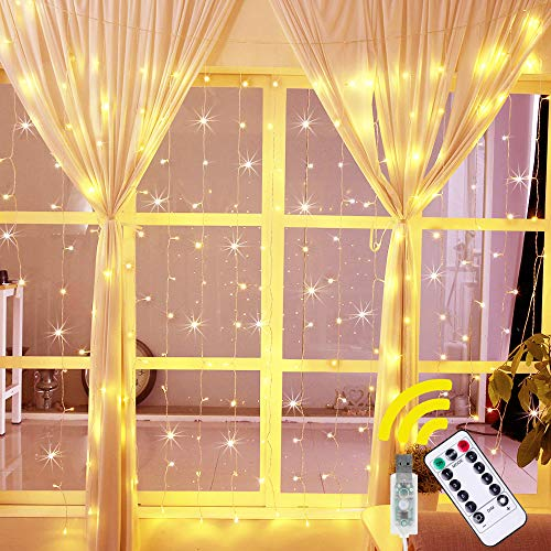 Ollny Curtain Lights Fairy String Twinkle Lights 192 LED 6.6 Ft with 8 Lighting Modes Remote, Dimmable Warm White Lights for Bedroom Christmas Wedding Party Home Garden Outdoor Indoor Wall Decorations
