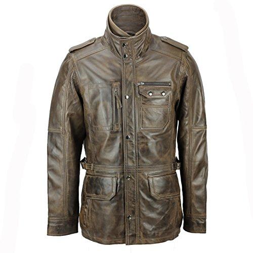 Xposed - Chaqueta de campo para hombre, piel auténtica, estilo vintage, estilo militar, color marrón y marrón Marrón marrón XXXXXL