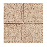 4Pcs Wood Carved Applique Onlay Square Carving Checkered Unpainted Flower Pattern Decal for Cabinet Door Furniture Decoration 2.4×2.4inch