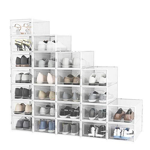 Pellebant 24 Pack Shoe Storage Boxes, Clear Plastic Large Stackable Shoe Organizer Bins, Drawer Type Front Opening Sneaker Shoe Holder Containers, Small/White