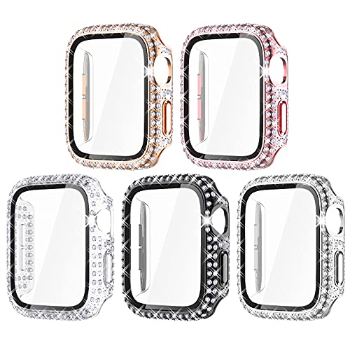Surace Compatible with Apple Watch Case 44mm with Screen Protector for Apple Watch Series 6/5/4/3/2/1, Bling Case Crystal Diamond Tempered Glass Protective Cover for 38mm 40mm 42mm 44mm, 5 Packs…