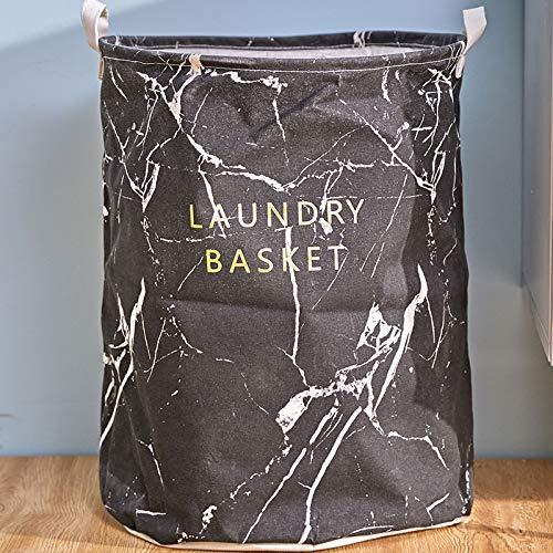 ZXXFR Mode, eenvoudige vuile kleding, mand badkamer, slaapkamer verbruiksmaterialen, mand doek vouwen wasmand. Zwart (diameter 40 cm hoog 50 cm).