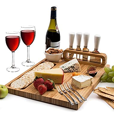 Bamboo Cheese Board and Cutlery set, includes 4 Cheese Knives with White Ceramic Handles, BONUS 4 Stainless Steel Cheese Forks plus Ceramic Bowl, Large Size 14  x 11 , Unique Design by Organic Cook