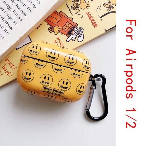 Beschermende hoes voor Airpods Profall Drew Huis Smiley Bluetooth koptelefoon voor iPhone Airpods 1/2/3 headset beschermhoes met haak QWERTB (color: voor Airpods 1 2)