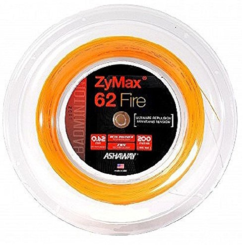 Ashaway Zymax 62 Fire Badminton-Saiten, 200 m Rolle, Orange