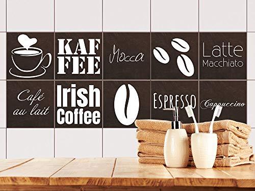 GRAZDesign Fliesenspiegel Küche Kaffee - Klebefliesen braun - Fliesenaufkleber Küche mit Kaffeebohnen - Fliesenaufkleber Cafe / 15x15cm / 770529_15x15_FS10st