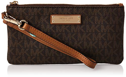 """Signature MK print coated twill with gold-tone hardware Measures 7-1/4""""W x 4""""H x 1/2""""D 7""""L adjustable wristlet strap 1 interior credit card slot Top zip closure with 100% Polyester lining"""