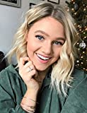 Ombre Blonde Wig Glueless Short Wavy Bob Wig with Dark Roots Blonde Synthetic Wig for Women Heat Resistant