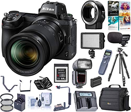 Nikon Z6 FX-Format Mirrorless Camera w/NIKKOR Z 24-70mm f/4 S Lens Bundle with Mount Adapter FTZ, Bag, Intervalometer, 64GB XQD Card, Flash, Mic, LED Light, Dual Charger, Tripod, Battery + More