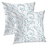 Batmerry Floral Blue White Decorative Pillow Covers, 22 x 22 Inch Flourish Damask Pattern Blue White Double Sided Throw Pillow Covers Sofa Cushion Cover Square 22 Inches(Set of 2)