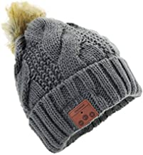 Tenergy Wireless Bluetooth Beanie Hat with Detachable Stereo Speakers & Microphone, Fleece-Lined Faux Fur Pom Pom Music Beanie for Women Outdoor Sports (Grey)
