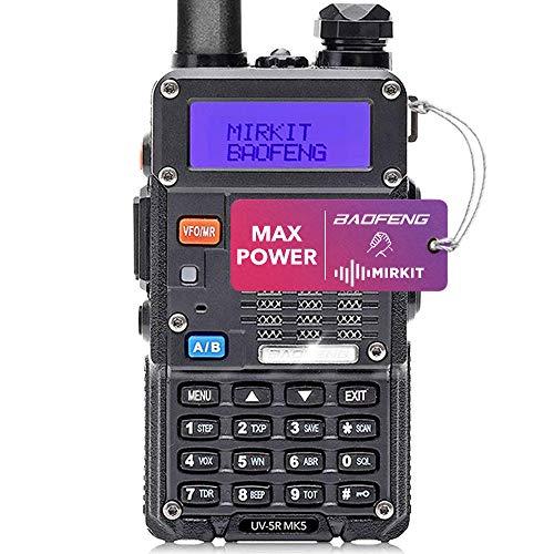 Mirkit - BAOFENG UV-5R MK5 8W Amateurfunk - Funkgerät mit 1800 mAh Batterie - Funkgerät 10 km Reichweite mit Headset - VHF UHF Funkgerät, 128 Kanäle - Handfunkgerät UV 5R, 1 Stück