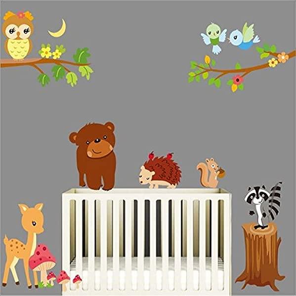 COVPAW 墙贴装饰动物园动物熊松鼠可拆卸儿童托儿所婴儿房美国股票