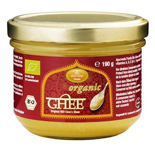 Ayurveda Foods - Organic Premium Bio Ghee 3er Set à 190g, sehr lange Haltbarkeit, Bio-Siegel, Brat- Kochfett, enthält Vitamine A, D, E & K