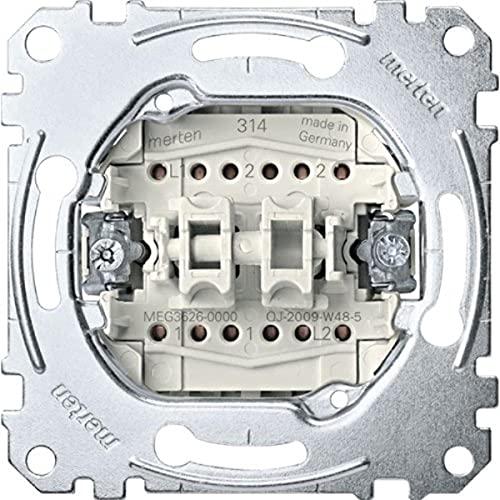 Merten MEG3626-0000 Doppelwechselschalter-Einsatz, 1-polig, 16 AX, AC 250 V, Steckklemmen