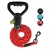 ELINKMALL Upgrade 6FT Strong Dog Reflective Leash with Heavy Duty Ergonomic Soft Rubber Handle and Highly Reflect Thread for Medium Large Dog Cat Leash Walking/Traffic Control Safety