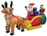 13pies de largo iluminado navidad hinchable de Papá Noel y pingüino con regalo en trineo tirado por 2reno decoración