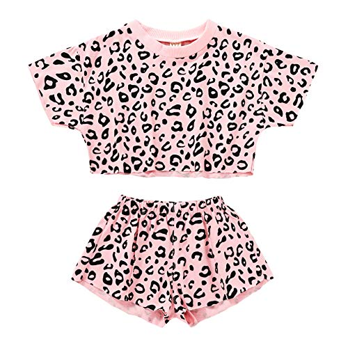 Kids ToddlerBaby Girls Shorts Outfits Set Leopard Print Ruffle Dress T-Shirt Tops+Short Pants 2Pc Summer Clothes Set (Pink, 2-3 Years)