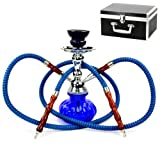 Never Exhale 10' Premium 2 Hose Hookah Shisha Complete Set with Carry Case - Pumpkin Glass Vase Design - Pick Your Color