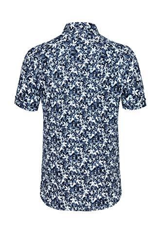 DESOTO Herren Hemd Kurzarm mit Button-down Kragen - Bügelfrei, Farbe:Navy White Flowers (539), Größe:S