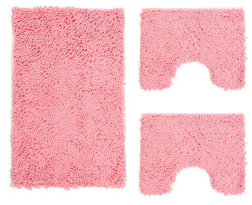 Set Tappeti Bagno 3 Pezzi in Microfibra, Tappeto Pelo Lungo 50x80 cm, 2 Tappetini per WC e Water Forma Rettangolare 40X50 cm, Morbido, Antiscivolo, Rosa