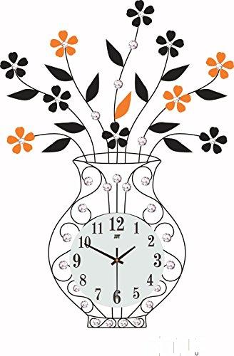 DFFV-Vases créatives incrustent horloge murale en fer forgé moderne européen (sans batterie) 70 * 43 (cm)Cadeau de cadeau de Noël de vacances d'ami cadeau