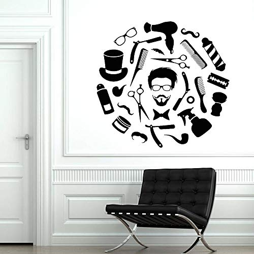 Friseursalon Vinyl Wandaufkleber Schönheitssalon Gesicht Frisur Herrenbart Friseursalon Heimtextilien Tapete 57X59Cm
