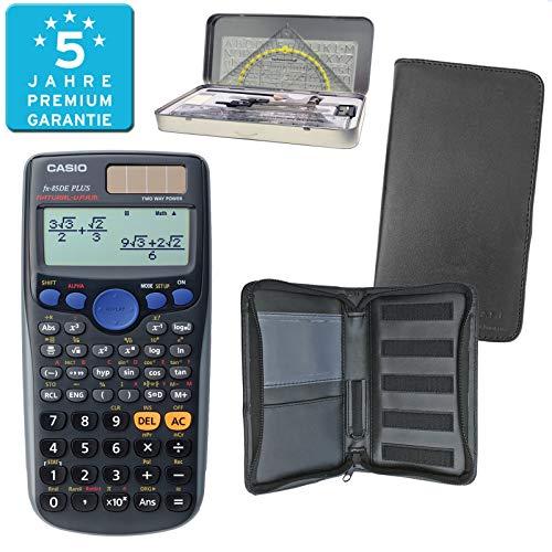Casio FX-85DE Plus (PREMIUMpaket) + Erweiterte Garantie + Schutztasche + Geometrieset : calcumio Artikel Set