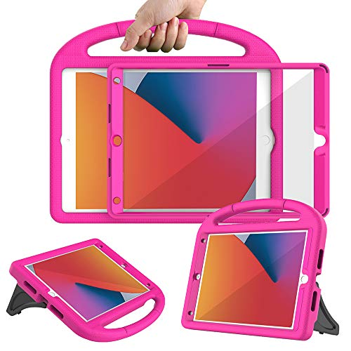 Surom Kids Case with Built-in Screen Protector for New iPad 10.2 Inch 2020/2019 (8th/7th Generation), Light Weight Shockproof Handle Stand Case for 2020/2019 iPad 10.2, iPad Air 3 10.5 2019, Rose Pink