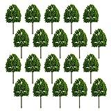 MCDSAJ 20 árboles modelo, árboles de tren, ferrocarril, paisaje, paisaje verde natural para manualidades, modelo de construcción (8 x 4 cm)