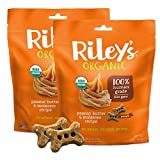 Riley's Organics - Peanut Butter & Molasses Organic Dog Treats, 5 oz Small Biscuits - Resealable Bag 2 Pack