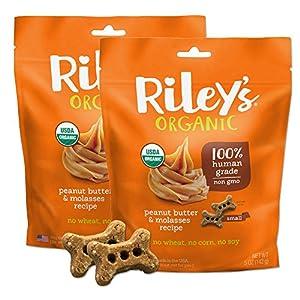 Riley's Organics – Peanut Butter & Molasses – 5 oz Small Biscuits – Human Grade Organic Dog Treats – Resealable Bag