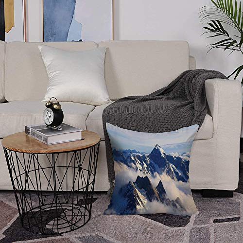 Microfiber cushion cover 50x50 cm,Apartment Decor,Landscape of High Majestic Mountains with Cook Peak with,Sofa Waist Chair Home Office Bar Car Decor Decorative Throw Pillowcase Protectors With Zipper