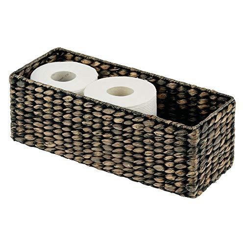mDesign gefärbter Flechtkorb aus Wasserhyazinthe – stapelbarer Weidenkorb – ideale Aufbewahrung für das Badezimmer – schwarz