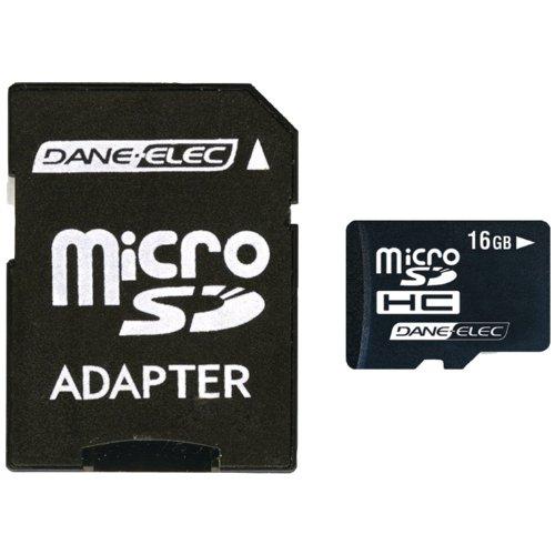 Dane-Elec 16 GB Class 2 microSDHC Flash Memory Card with SD Adapter DA-2IN1-16G-R