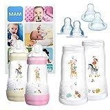 MAM Essential Bottle Set, Accessori bimbi con 2x Biberon Anti-Colic (260ml) e 2x Holder biberon anticolica (320ml), Biberon neonato con 4x tettarella mis. 3 e X per 6+ mesi, Bimba