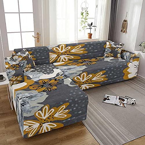 WXQY Funda de sofá elástica con Flores Bohemias para Sala de Estar Funda de sofá elástica en Forma de L Fundas Fundas para sofá Funda para sillones A2 3 plazas