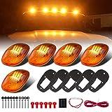 5 Pcs Amber Lens 16 Amber LED Cab Marker Clearance Light Roof Running Light Assembly For 2003-2016 Dodge Ram 1500 2500 3500 4500 5500