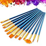 Veczom Acrylic Paint Brushes 12 Set Artist Paintbrushes Nylon Hair Paint Brush for Oil Watercolor, Body Face Painting, Rock Painting, Fine Detail Miniature, Beginner, Adults, Kids Arts Crafts Supplies