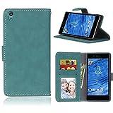 Funda Sony Xperia Z5 E6003 E6633 E6653 E6683,Bookstyle 3 Card Slot PU Cuero Cartera para TPU Silicone Case Cover(Azul)