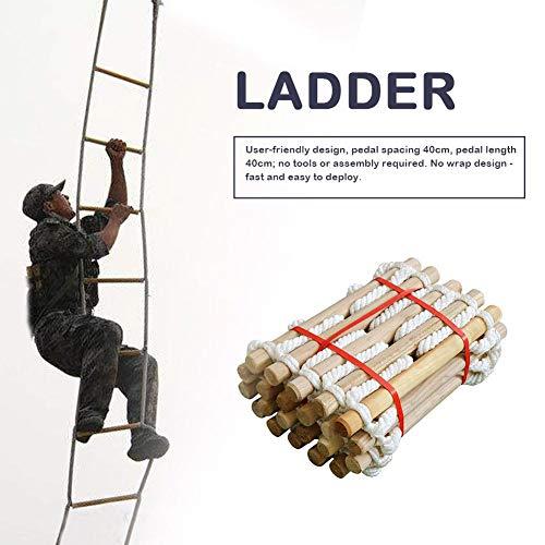 Escalera de cuerda, Escalera de escape, Escalera de cuerda de nylon suave Vida en el hogar Escalera de rescate Escalera redonda para exteriores Escalera de ingeniería de escalada para el hogar, 3 m