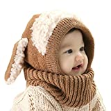 Winter Baby Hats, Winter Cute Hat, Winter Baby Hood Scarf Caps, Invierno Encantadores Niños Niñas Niños Warm Scarf Caps (marrón)