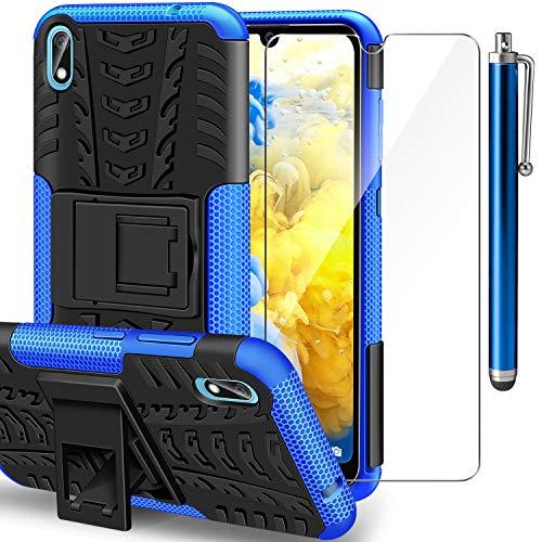 AROYI Huawei Y5 2019 Hülle+ Schutzfolie, TPU Series Dual Layer Hybrid Handyhülle Drop Resistance Handys Schutz Hülle mit Ständer für Huawei Y5 2019 Blau